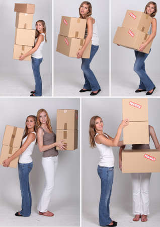 settling: Collage of women on moving day