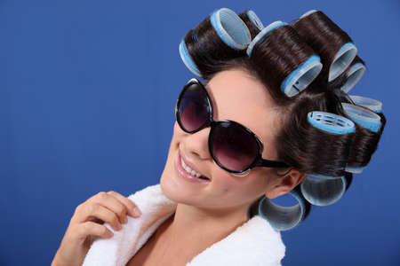 curlers: Woman Stock Photo