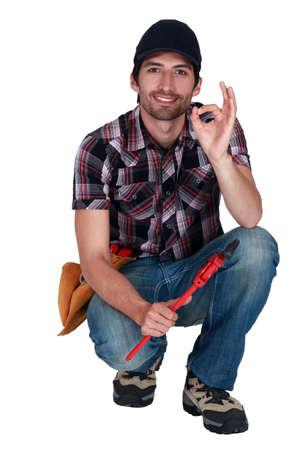 A handyman making an ok sign. Stock Photo - 10852861