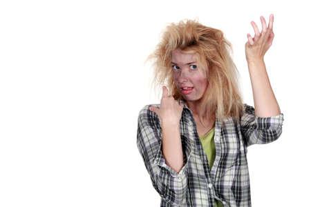 choc �lectrique: Femme recevant un choc �lectrique Banque d'images