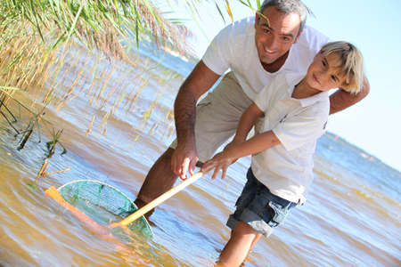 Father and son fishing Stock Photo - 10855016