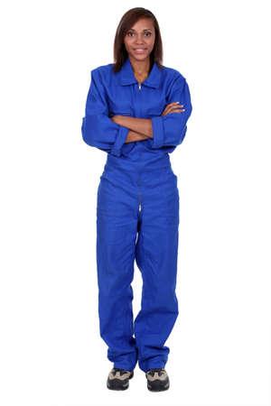 jumpsuit: Woman wearing a boilersuit