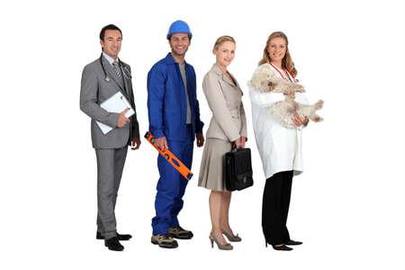 obrero: Cuatro personas de diferentes profesiones