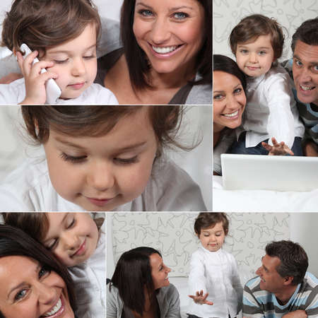 Little girl and parents with laptop, photo-montage Stock Photo - 10855136