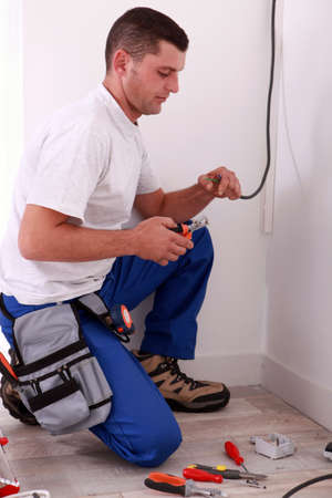 light fitting: Electrician preparing wiring