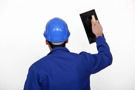 plastering: Male plasterer
