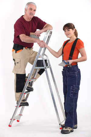 tradespeople: Colleagues shaking hands