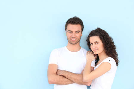 portrait of newlyweds wearing casual clothes photo