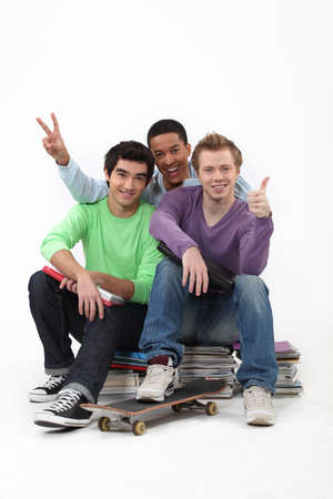 three students posing for a picture photo