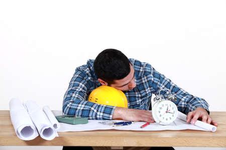 catnap: Draughtsman sleeping on the job