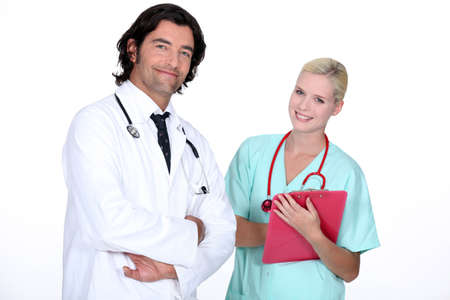 fellows: a doctor and a nurse ready to work Stock Photo