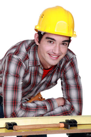 unskilled worker: Portrait of a young construction worker