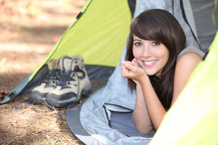 Woman in a tent photo