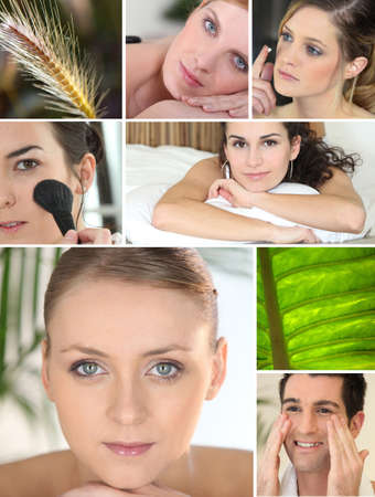 Mosaic of various cosmetic treatments photo