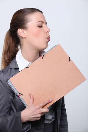 Woman blowing photo