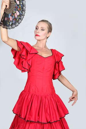 cultural clothing: Woman dressed as Spanish senorita