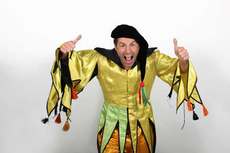 Man in Court Jester Fancy Dress Costume Stock Photo - 11176014