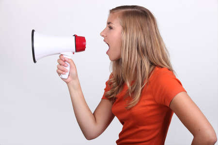15 18: Girl shouting in loud speaker