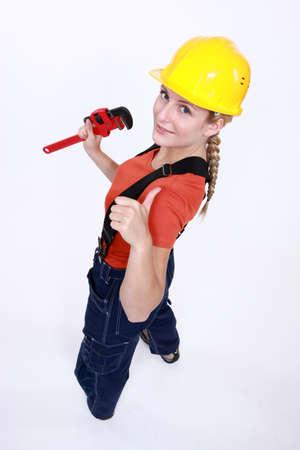 tradeswoman: Tradeswoman giving the thumb