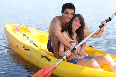 kayak: Paar in een kajak