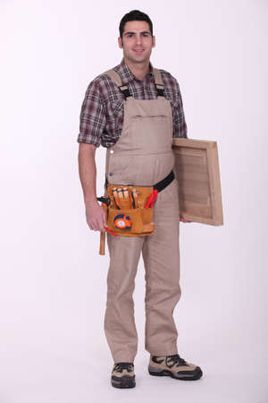 Carpenter on white background photo