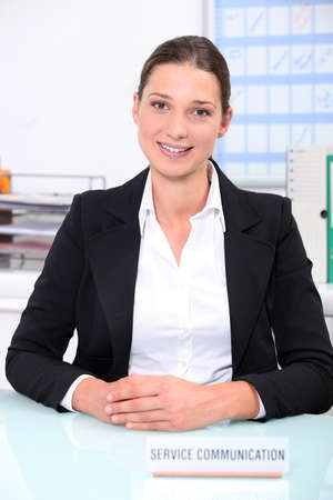 woman working at a communication service photo