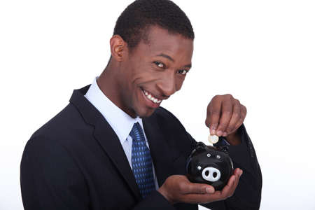 portrait of a man with money box Stock Photo - 11717684