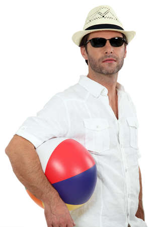 40 45: Man with a beach ball Stock Photo