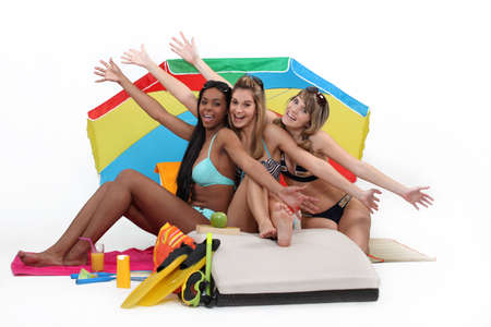 Girls enjoying a day at the beach together Stock Photo - 11717676
