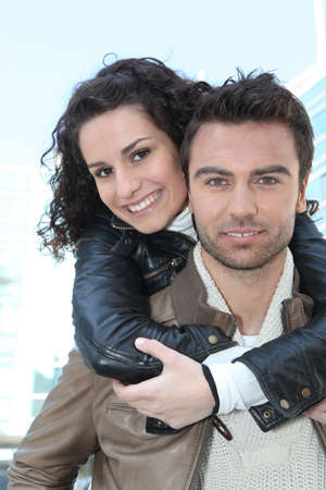 Young couple in leather jackets photo
