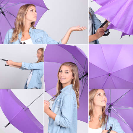 sexy pictures: Collage of pretty girl with purple umbrella