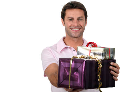 man 40 50: Man with presents Stock Photo