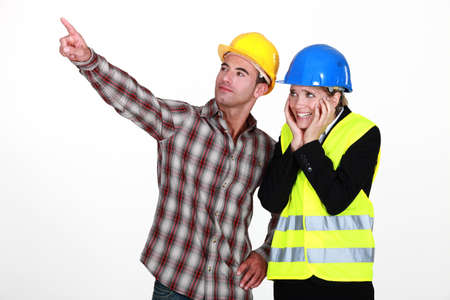 Scared architect stood with builder Stock Photo - 11717830