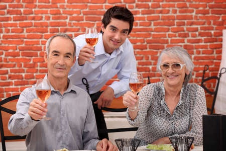 Family making a toast photo