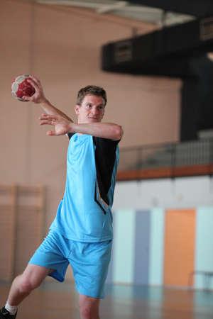 balonmano: jugador de balonmano en acci�n Foto de archivo