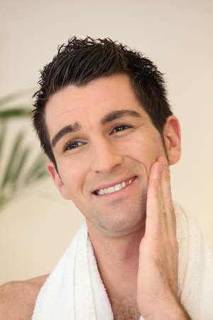 shaving blade: Man in bathroom