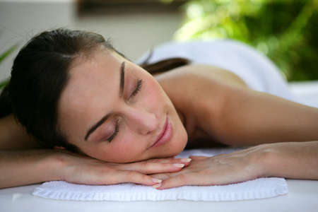 Woman laying down at health spa Stock Photo - 11115903