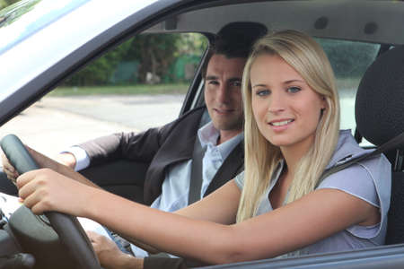 driving: girl in driving lesson
