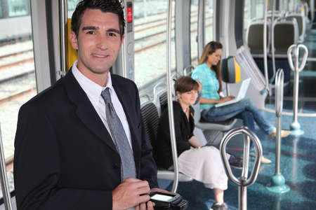 tramway: ticket collector in tramway Stock Photo