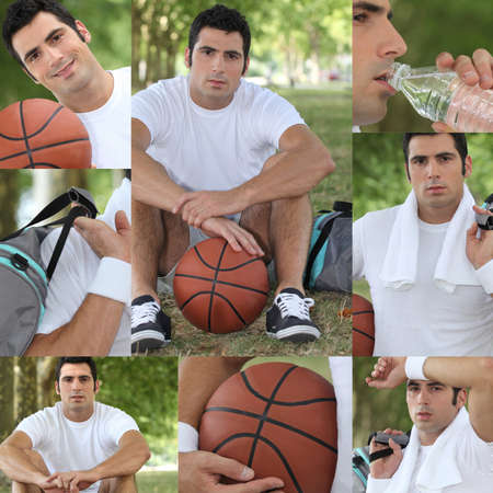 Montage of a basket-ball player photo