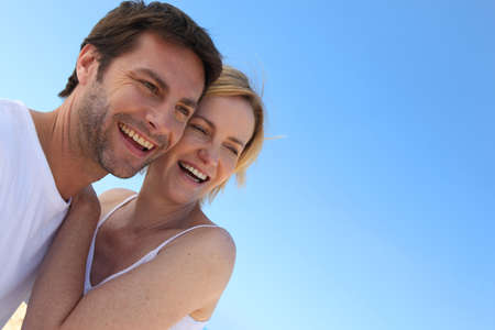 Carefree couple on holiday together Stock Photo