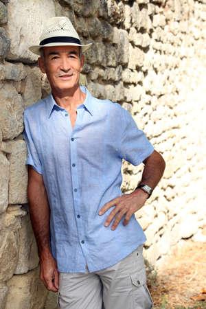 khaki pants: Pensioner on holiday