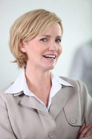 smug: Confident business woman