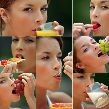 woman eating healthy foods Stock Photo - 11134918