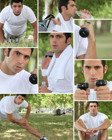 pectorals: Healthy young man working out outdoors Stock Photo