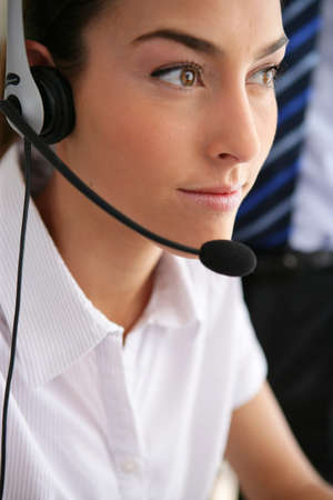 businesswoman wearing a headset Stock Photo - 11136075