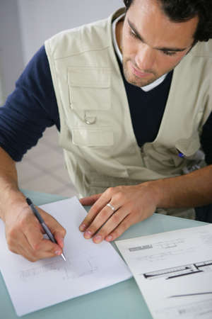 specialised: Man making a sketch Stock Photo