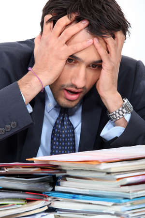 solicitor: Stressed young businessman Stock Photo