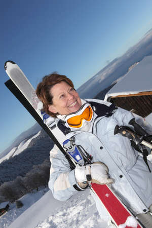 peppy: Peppy woman going skiing