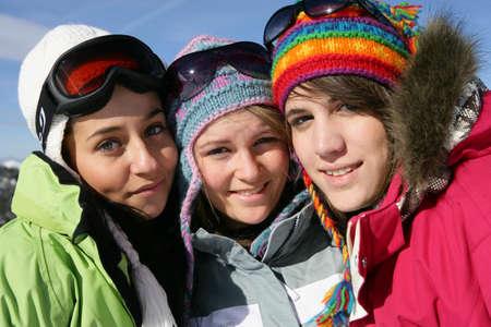 Three friends skiing Stock Photo - 11135793